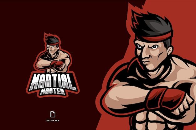 Modèle d'illustration de caractère logo mascotte combattant martial