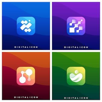 Modèle d'illustration colorée de boîte d'icônes de médias numériques