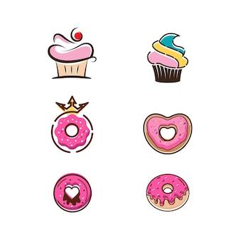 Modèle d'illustration de conception d'icône de vecteur de beignet
