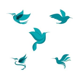 Modèle d'illustration de conception d'icône de vecteur de colibri