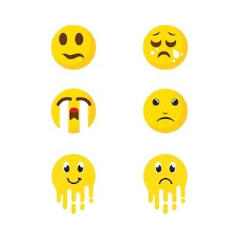 Modèle d'illustration de conception d'icône de vecteur d'émotion triste