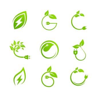 Modèle d'illustration de conception d'icône de vecteur d'énergie écologique