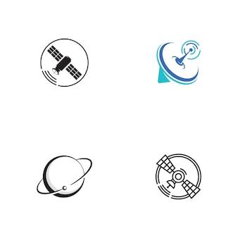 Modèle d'illustration de conception d'icône de vecteur satellite
