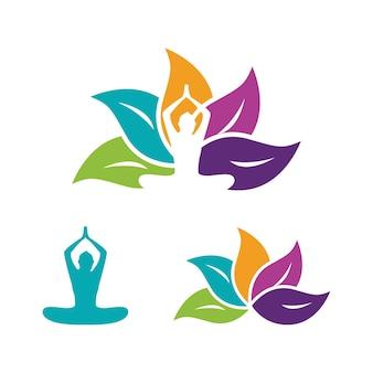 Modèle d'illustration de conception d'icône de vecteur de yoga