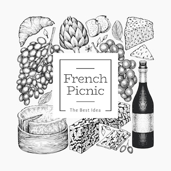 Modèle d'illustration de cuisine française. illustrations de repas de pique-nique dessinés à la main. collation et vin différents de style gravé.