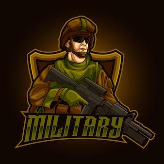 Modèle d'illustration du logo esport de la mascotte de l'armée militaire