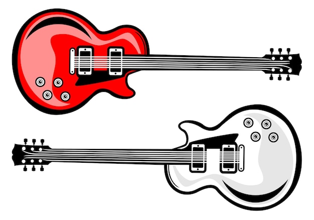 Modèle d'illustration de guitare électrique