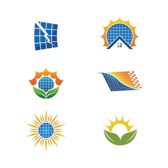 Modèle d'illustration d'icône de vecteur d'énergie solaire