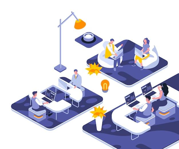 Modèle d'illustration isométrique de bureau de coworking