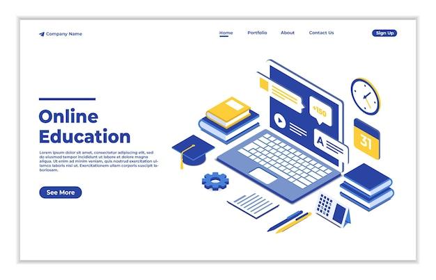 Modèle d'illustration isométrique de concept d'éducation en ligne
