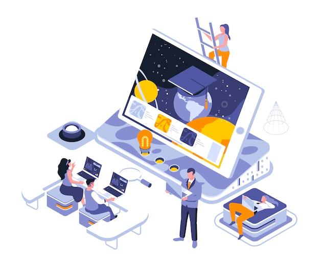 Modèle d'illustration isométrique de l'éducation en ligne