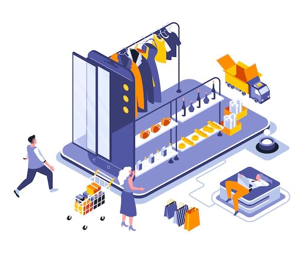 Modèle d'illustration isométrique de magasinage en ligne