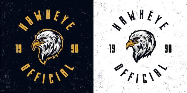 Modèle d'illustration de logo mascotte tête d'aigle vintage