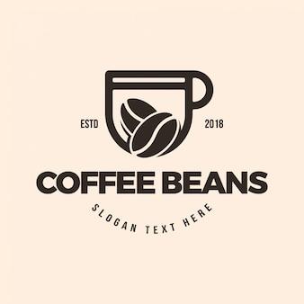 Modèle d'illustration logo tasse à café et grains de café