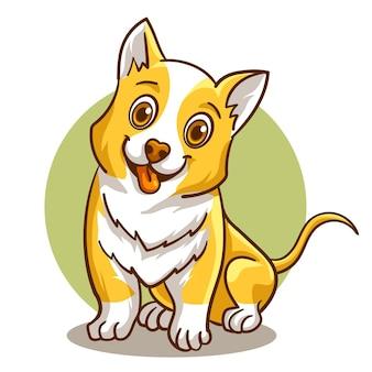 Modèle d'illustration de mascotte adorable chien mignon