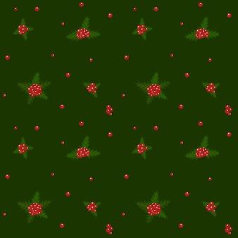 Modèle avec illustration de la plante de houx de noël. symbole de noël