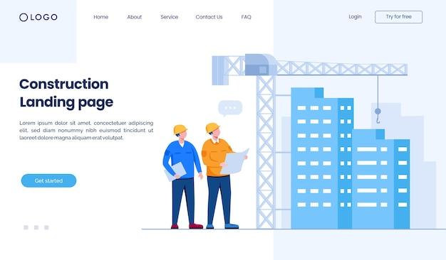 Modèle d'illustration de site web de page de destination de construction