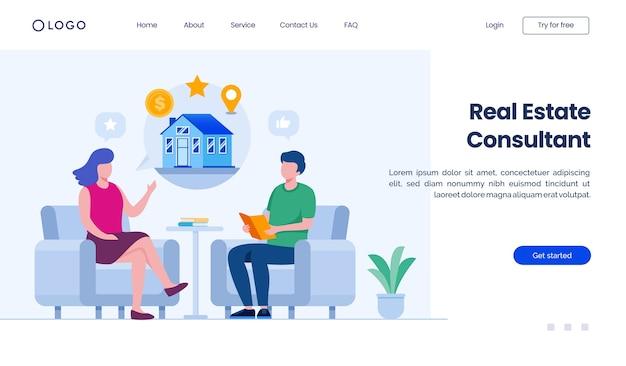 Modèle d'illustration de site web de page de destination de consultant immobilier