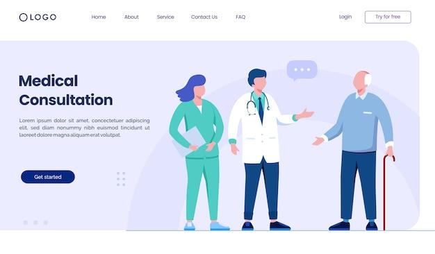 Modèle d'illustration de site web de page de destination de consultation médicale