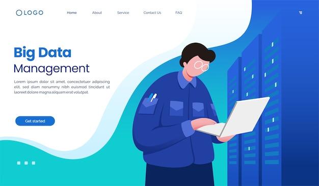 Modèle d'illustration de site web de page de destination de gestion des données volumineuses