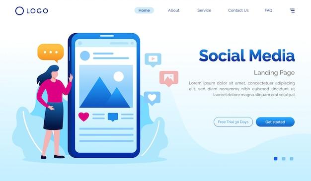 Modèle d'illustration de site web de page de destination de médias sociaux