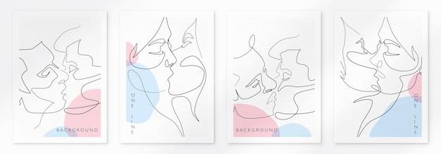 Modèle d'illustration vectorielle baiser de couple gay concept lgbt style minimaliste une ligne