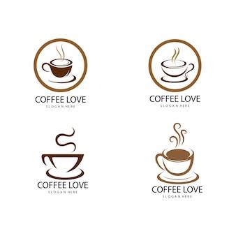 Modèle d'illustration vectorielle d'icône de logo de café