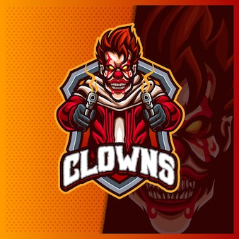 Modèle d'illustrations de conception de logo d'esport de mascotte de clown de tireur d'élite, logo de tireur de clown pour le streamer