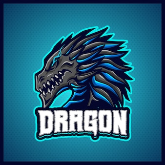 Modèle d'illustrations de conception de logo d'esport mascotte de dragon bleu