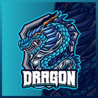 Modèle d'illustrations de conception de logo esport mascotte de dragon chinois, logo de bête