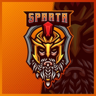 Modèle d'illustrations de conception de logo d'esport de mascotte de guerrier de gladiateur spartiate, logo de chevalier romain