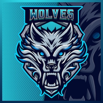 Modèle d'illustrations de conception de logo esport mascotte loup bleu