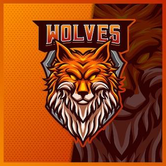 Modèle d'illustrations de conception de logo esport mascotte loup