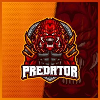Modèle d'illustrations de conception de logo d'esport de mascotte de monstre de prédateur extraterrestre, style de dessin animé de diable
