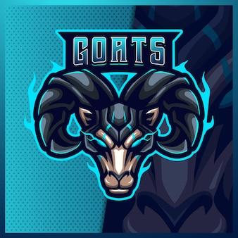 Modèle d'illustrations de conception de logo d'esport de mascotte de mouton de ram de chèvre, logo de bélier