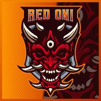 Modèle d'illustrations de conception de logo esport mascotte oni mask face, logo maléfique pour jeu d'équipe