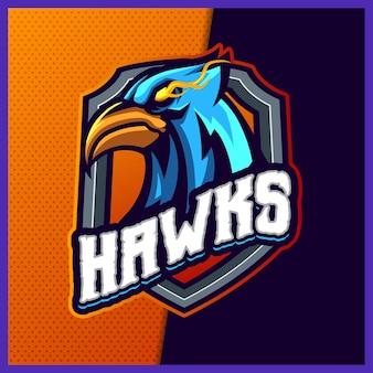 Modèle d'illustrations de conception de logo esport de mascotte phoenix hawk eagle, style de dessin animé falcon