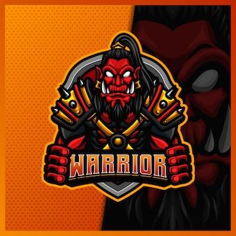 Modèle d'illustrations de conception de logo esport mascotte samouraï guerrier viking orc, style cartoon