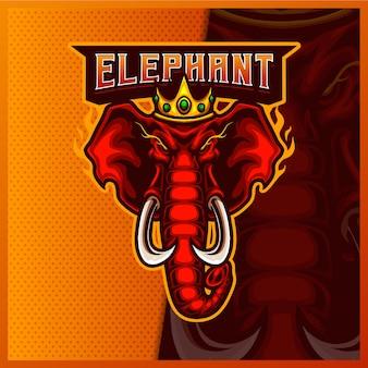 Modèle d'illustrations de conception de logo d'esport de mascotte de tête d'éléphant de roi, logo de couronne d'éléphant