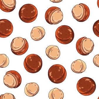 Modèle d'illustrations vectorielles sur le thème des noix.