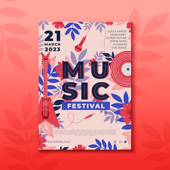 Modèle illustré d'affiche de musique