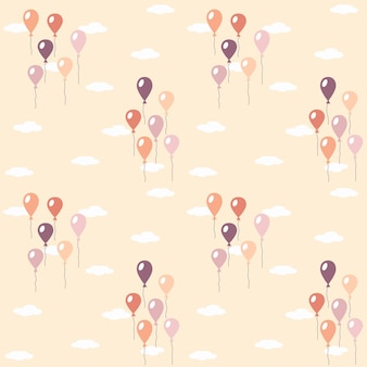 Modèle avec l'image des ballons et des nuages. pastel. illustration vectorielle