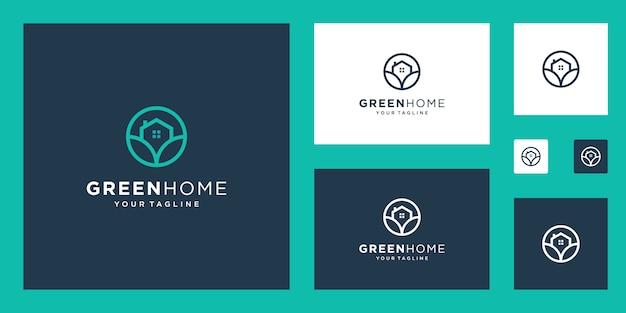 Modèle immobilier logo green house. symbole de contour minimaliste pour les bâtiments respectueux de l'environnement.