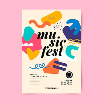 Modèle d'impression de festival de musique abstraite