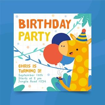 Modèle d'impression de flyer carré joyeux anniversaire girafe