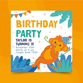 Modèle d'impression de flyer carré joyeux anniversaire singe