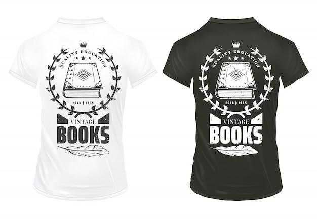 Modèle d'impressions de livres vintage avec inscription élégante plume de livre et couronne de laurier sur des chemises isolées