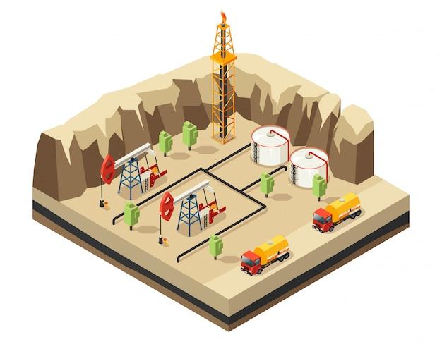 Modèle d'industrie pétrolière isométrique