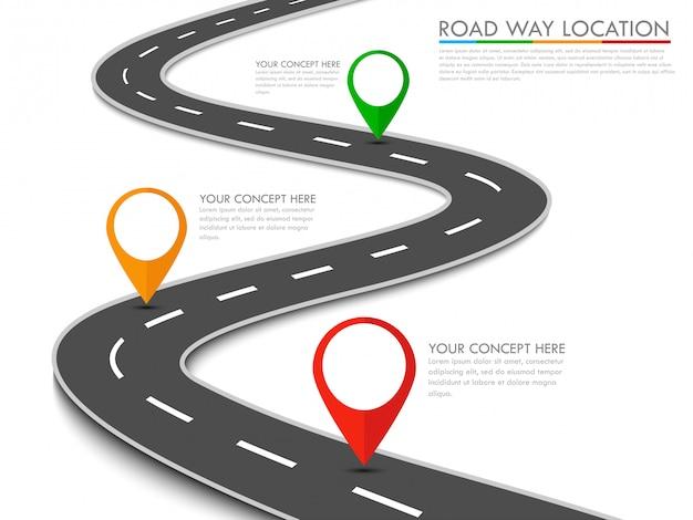 Modèle d'info-graphique d'emplacement de voie routière avec pointeur épingle