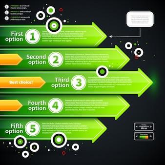 Modèle infographic vert